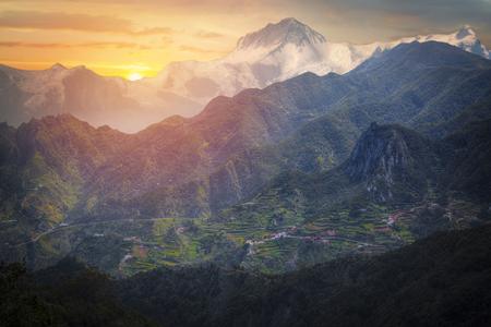 views of Mount Annapurna Himalayas, Nepal, Asia. Stock Photo