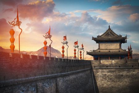 Xian city wall. The largest monument of Chinese architecture Stok Fotoğraf