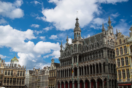 Grand Place - the historic square in the center of Brussels. Town Hall and the Bread House, or House of the King. Europe Reklamní fotografie