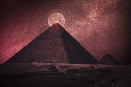 pyramids of Egypt. At night the bloody moon and stars shine
