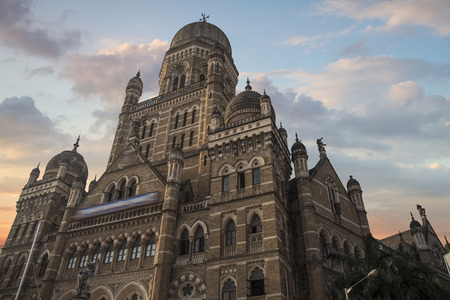 Chhatrapati Shivaji, the former Victoria Terminus - a historical railway station in the Indian city of Mumbai, one of the busiest in India. Stock Photo