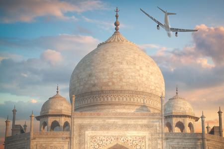 the plane is flying overTaj Mahal .  Agra, Uttar Pradesh.