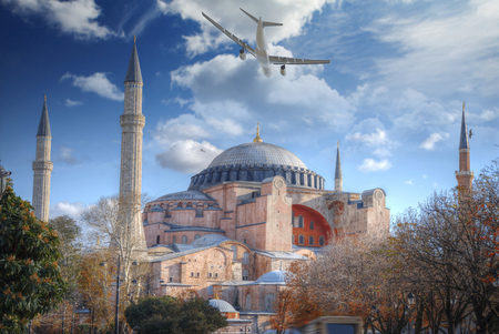 the plane is flying over Hagia Sophia (Ayasofya) Istanbul, Turkey
