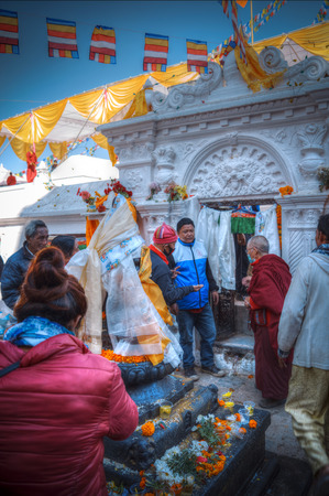 NEPAL, KATHMANDU - DEC 23, Boudhanath stupa -23th of December 2016. Opening of Bodnath stupa in Kathmandu (Nepal)