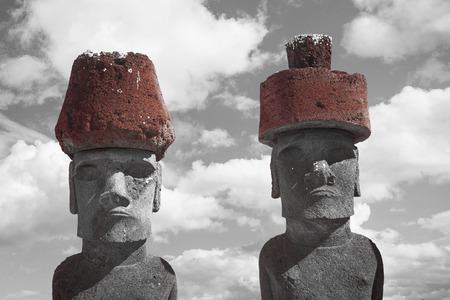 Moais at Ahu Tongariki (Easter island, Chile). black and red and white photo