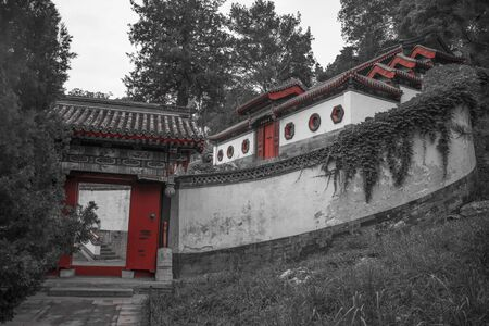 Beihai Park is an imperial garden to the north-west of the Forbidden City in Beijing. black and white photography. Фото со стока
