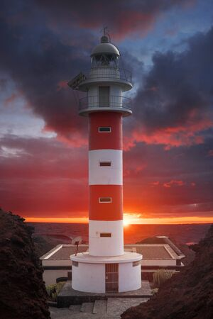 Lighthouse Punta de Teno is Tenerife on the Atlantic Ocean Фото со стока