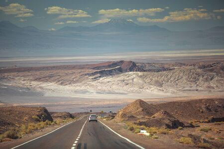 Panamericana in Nazca, Peru. Scenic landscape of desert and the Andes.