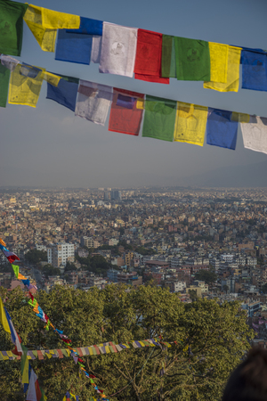 Top view of the Kathmandu valley and the city itself.