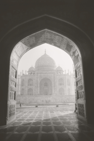 Taj Mahal .  Agra, Uttar Pradesh. Black and white photography.