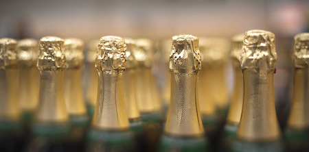Many bottles of champagne in the store