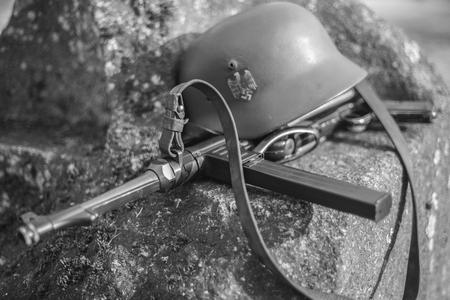 Automatic machine gun and helmet SS officer. World War II. Stock Photo
