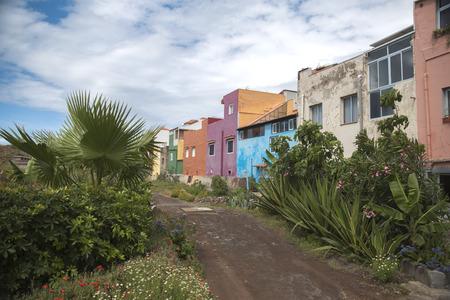 Puerto de la Cruz. colorful houses on the island.