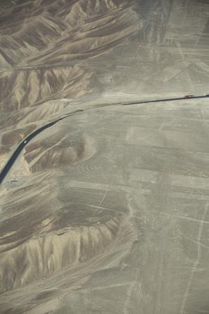 Mysterious Nazca lines on desert in Peru, South America Foto de archivo