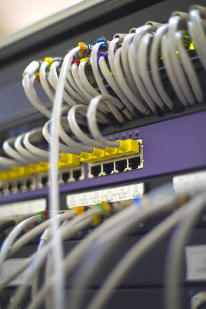 server with wires for the Internet.