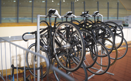 Bicycles for the cycle track are on the stand