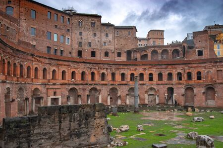 ruins of trade buildings on the forum of Trajan in Rome, Italy