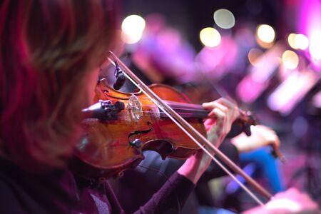 Violin at the concert. Close-up
