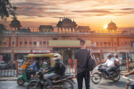 Male tourist travels around Jaipur. India. Stock Photo