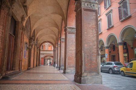 Piazza Maggiore in the historic center of Bologna, Italy 版權商用圖片