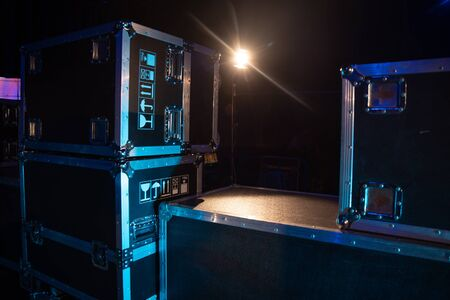 preparation for the concert. Equipment boxes 写真素材