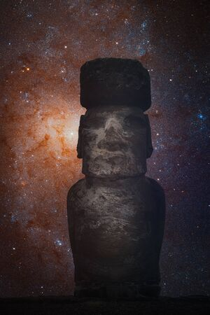 Starry sky over statues on Easter Island Stock fotó