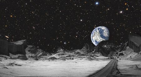 Future, moon road overlooking planet Earth.