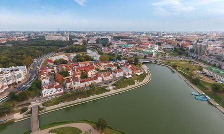Minsk city center. Bird's-eye . Drone shot