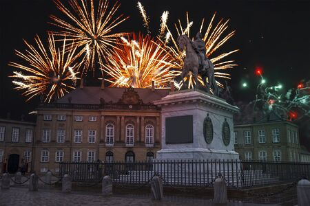 colorful fireworks in copenhagen. New Year's Day 2020