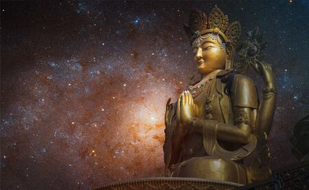 Starry sky over the statue of Chenrezig Bodhisattvas. This image elements furnished by NASA