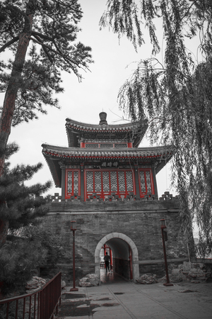 Beihai Park is an imperial garden to the north-west of the Forbidden City in Beijing. black and white photography. Редакционное