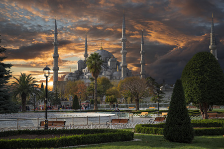 The Blue Mosque is the city stambul. Turkey. Autumn.