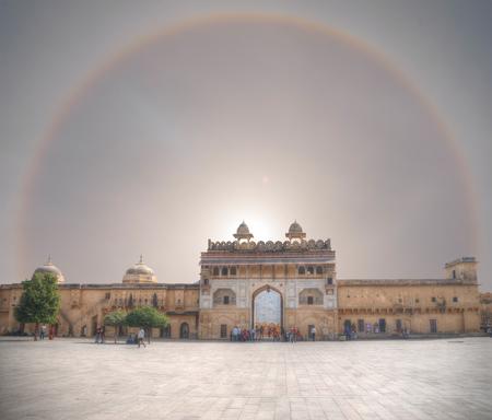 halo over Amer Fort Jaipur. India Редакционное