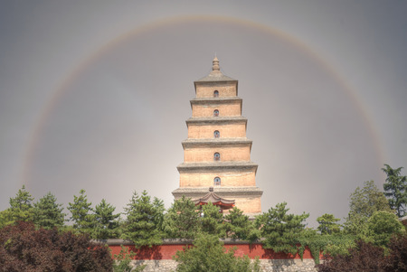 Halo over the Great Wild Goose Pagoda in Xian, China.