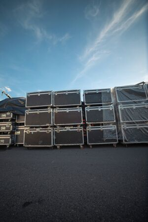 preparation for the concert. Equipment boxes