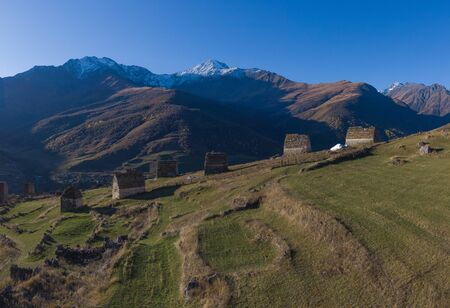 Mountain landscape and medieval architecture of North Ossetia. Shot on a drone. Фото со стока
