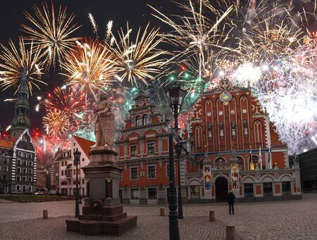 fireworks in riga. Celebrating the new year 2020.