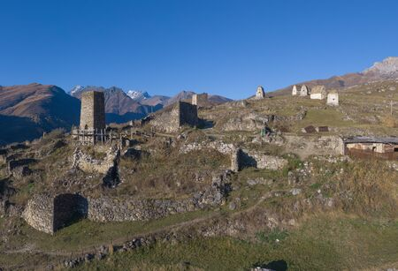 Mountain landscape and medieval architecture of North Ossetia. Shot on a drone.