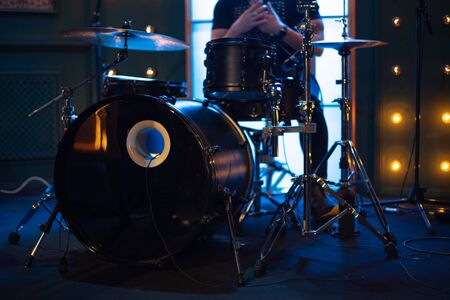 drums on stage before a music concert.