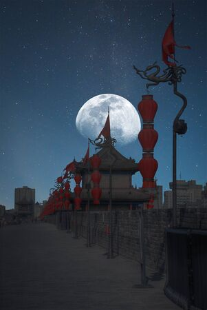wall in Xian city at night under the moonlight Фото со стока
