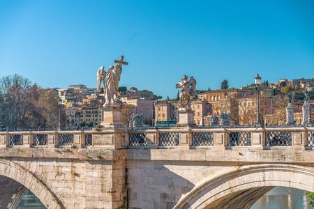 Statues on the bridge of St. Angel. Rome. Italy