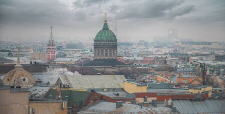 St. Petersburg in winter, view from above. Shot on a drone.