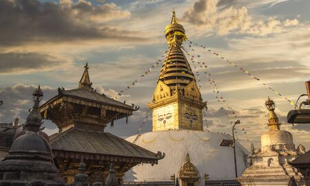 Swayambhunath Stupa stands on the hill in Kathmandu, Nepal Stock Photo
