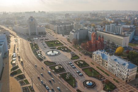 Independence Square Minsk. Belarus. Shot on a drone Фото со стока