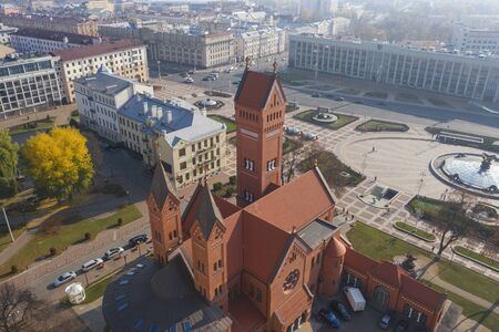 Red church Minsk. Shot from above using a drone
