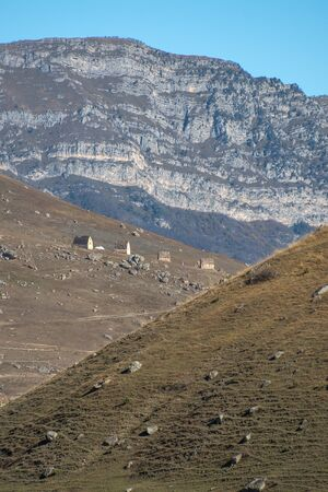 Mountain landscape and medieval architecture of North Ossetia.