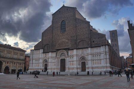 Piazza Maggiore in the historic center of Bologna, Italy