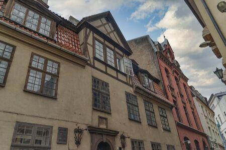 old houses on Riga street. Latvia. Europe
