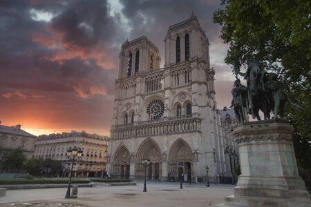 sunset Notre Dame de Paris. France. Europe