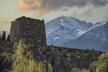 The ruins of a fortress in the mountains of the Caucasus. North Ossetia